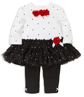 Little Me Girls' Dotted Rose Tutu Top & Leggings Set - Baby