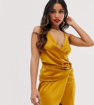 Asos DESIGN Petite satin mini dress with horn buckle
