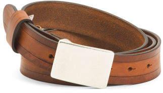 Men's Italian Leather Plaque Belt