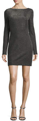 Diane von Furstenberg Long-Sleeve Metallic-Knit Mini Dress