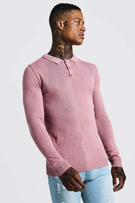 boohoo Regular Fit Long Sleeve Knitted Polo