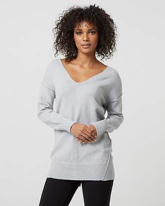 Le Château Metallic Knit V-Neck Sweater