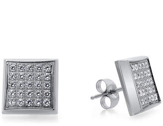 FINE JEWELRY Mens 1/4 CT. T.W. Diamond Stainless Steel Square Stud Earrings