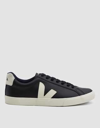 Veja Esplar Logo Leather Sneaker in Black Pierre