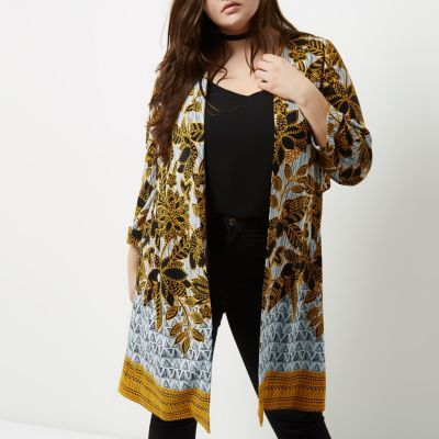 River Island River Island Womens Plus yellow floral print tie back duster coat