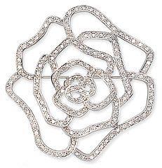 Cubic Zirconia Brooch: Sterling Silver