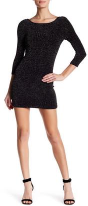 Trixxi 3/4 Sleeve Metallic Knit Dress $59 thestylecure.com