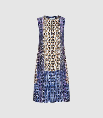 Reiss SASKIA PRINTED SHIFT DRESS Blue