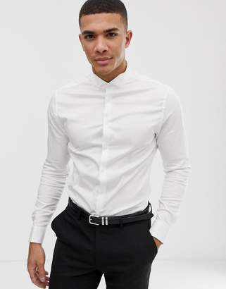 e85c5b4138b Asos Design DESIGN skinny fit sateen wedding shirt with double cuff and  wing collar