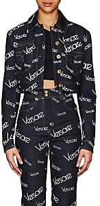 Versace Women's Logo Mania Denim Crop Jacket - Dk. Blue