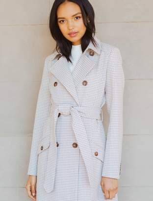 Ever New Olivia Micro Check Trench Coat