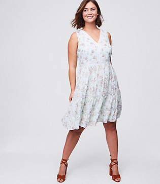 LOFT Plus Lacy Floral Flare Dress