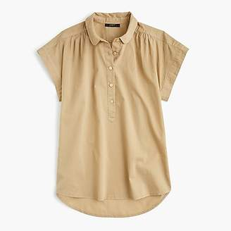 J.Crew Collared popover shirt in garment-dyed cotton poplin
