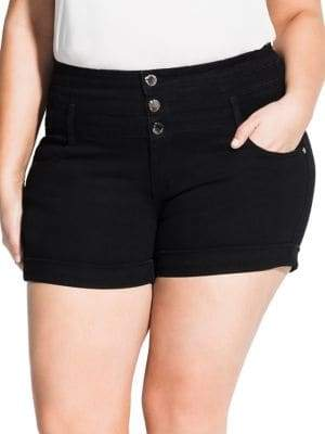 City Chic Plus Distressed High-Waist Shorts
