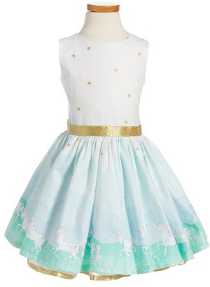 Toddler Girl's Fiveloaves Twofish Unicorn Magic Party Dress $130 thestylecure.com