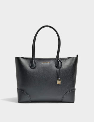 MICHAEL Michael Kors Mercer Gallery Large East-West Top Zip Tote Bag in Black Mercer Pebble Leather