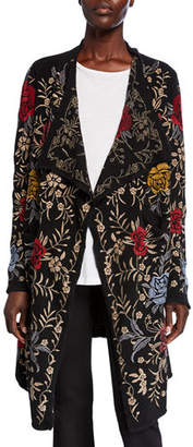 Johnny Was Pua Embroidered Knit Cardigan