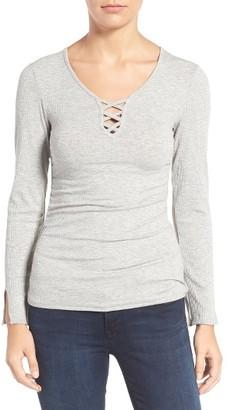 Women's Wit & Wisdom Lattice Front Split Neck Tee $48 thestylecure.com