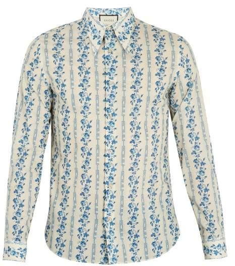 Floral and logo-print cotton-poplin shirt