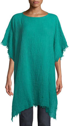 Eileen Fisher Lightweight Organic Cotton Fringed Poncho, Plus Size
