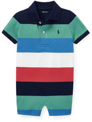 Ralph Lauren Childrenswear Colorblock Polo Playsuit, Size 3-18 Months