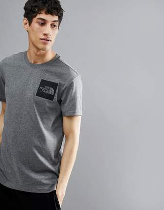 The North Face Fine Box Logo T-Shirt In Grey Marl