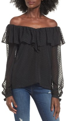 Women's Wayf Kiere Ruffle Off The Shoulder Top $69 thestylecure.com