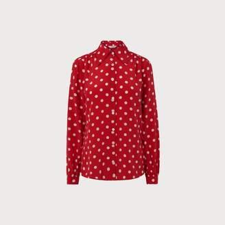 LK Bennett Eryn Red Polka Dot Silk Blouse