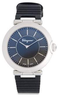 Salvatore Ferragamo Stainless Steel Buckled Leather-Strap Watch