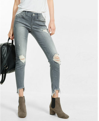 Express gray mid rise performance stretch jean legging $79.90 thestylecure.com