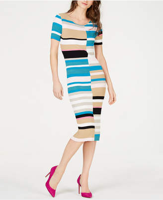 INC International Concepts I.N.C. Colorblocked Short-Sleeve Sweater Dress, Created for Macy's