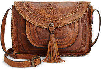 Patricia Nash Beaumont Vintage Distressed Leather Flap Crossbody