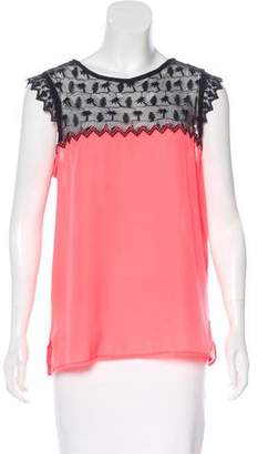 Maison Scotch Sleeveless Lace Panelled Top