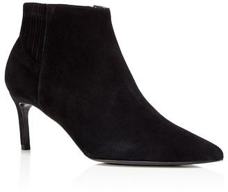 Delman Pointed Toe Mid Heel Booties $498 thestylecure.com