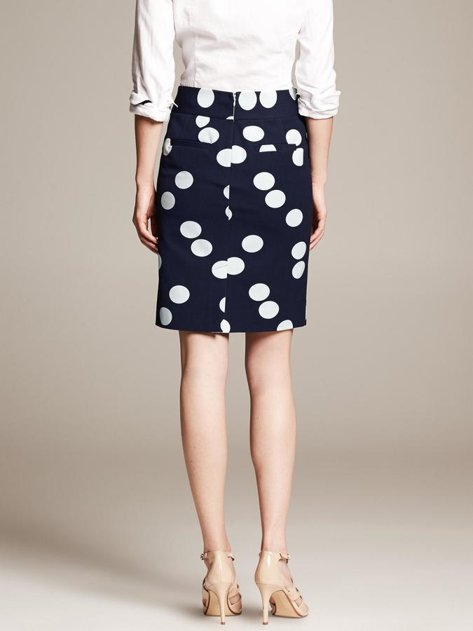 Banana Republic Sloan-Fit Dot-Print Pencil Skirt