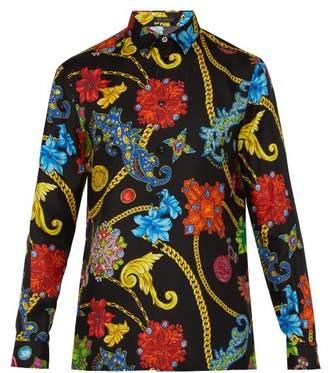Versace Gioelleria Jetes Print Silk Twill Shirt - Mens - Black