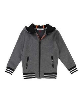 Givenchy Hooded Zip-Up Jacket w/ Logo Back, Size 12-14