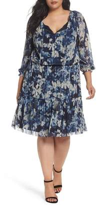 London Times Floral Crinkle Mesh Blouson Dress