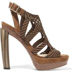 Jimmy Choo Woven Leather Suede And Elaphe Sandals