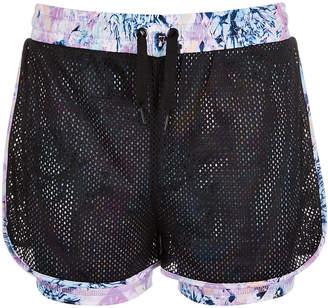 Ideology Big Girls Printed Layered-Look Mesh Shorts