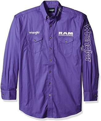 Wrangler Men's Logo Big and Tall Two Pocket Long Sleeve Shirt