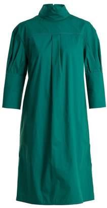 Marni High-neck contrast-stitch cotton-poplin midi dress