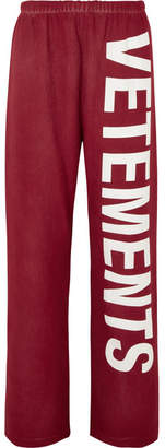 Printed Cotton-blend Jersey Track Pants - Red