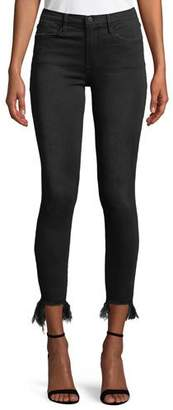 Frame Le High Skinny Stiletto Jeans w/ Frayed Hem