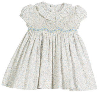 Luli & Me Ruffle-Collar Floral Smocked Dress, Size 6-24 Months