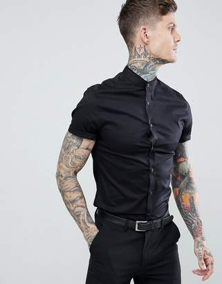 Asos Design DESIGN skinny fit shirt with lace trim and grandad collar