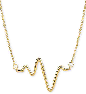 "Sarah Chloe Large Heartbeat Pendant Necklace in 14k Gold, 16"" + 2"" extender"