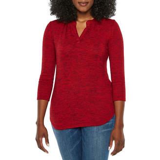 Liz Claiborne Womens Split Crew Neck 3/4 Sleeve Knit Blouse-Petite