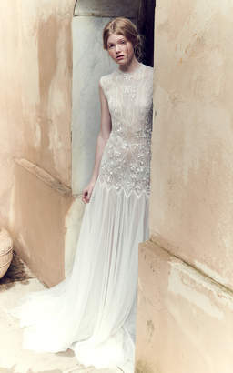 Costarellos Bridal Low-Waist Mesh Lace Bodice And Tulle Gown