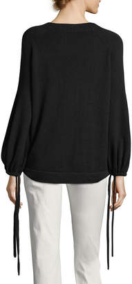 Vince Cashmere Scrunch-Sleeve Pullover Top